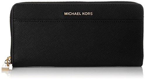 Black leather Michael Kors gold logo Zip around Front slit pocket  Back slip pocket Interior: 12 card slots, 2 bill slots, central zip compartment Dimensions: height 10cm, width 20.5cm, depth 2cm Stock code 32T7GTVZ3L