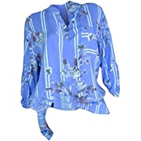 Y56  Women's Summer Boho Long Sleeve Button Printing Round Neck Casual Blouse Tops