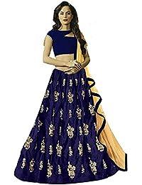 57ce617e8b6f24 BRIDAL4Fashion Women s Embroidered Velvet Semi Stitched Nevy Blue Lehenga  Choli (Free Size)