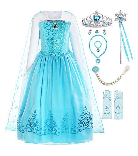 ReliBeauty Mädchen Kleid Prinzessin Elsa Eiskönigin Langarm Falten Pailletten Schneeflocken Kostüm, Hellblau(mit Zubehör), 116-122(Etikett 120)