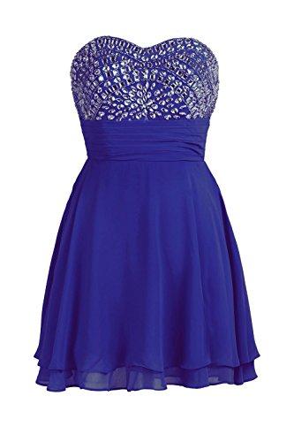 YiYaDawn Kurzes Trägerloses Ballkleid Abendkleid für Damen Königsblau