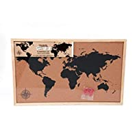 Framed Cork Board World Map Pin Board Travel with Pins