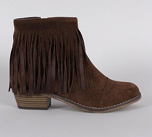 Funky Fourever da donna in pelle scamosciata sintetica con frange Cowgirl-Stivali alla caviglia, punta arrotondata Marrone
