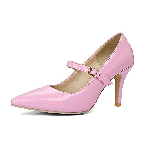 VogueZone009 Donna Pelle di Maiale Scarpe A Punta Tacco Alto Fibbia Puro Ballet-Flats Rosa