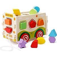 Isa Bloques de construcción de Madera de 13 Piezas Deje Que su niño aprenda Colores y Formas a través del Juego Regalo Creativo y Educativo para niños