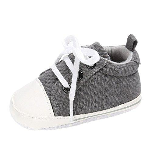BabySchuhe Auxma Kleinkind-Segeltuch-Turnschuhe Baby-Jungen-Mädchen Prewalker-Schuhe Anti-Beleg-weiche Sohle netter Trainer Für 3-18 Monate (12cm/6-12 M, Grau)