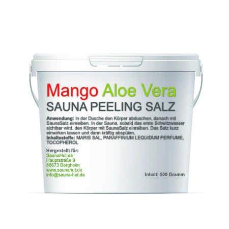 Premium Saunasalz (Salzöl) 500 Gramm Meersalz Peeling mit ÖL | Peeling Salz | Duschsalz | Sauna Salz Peeling | (Mango-AloeVera)