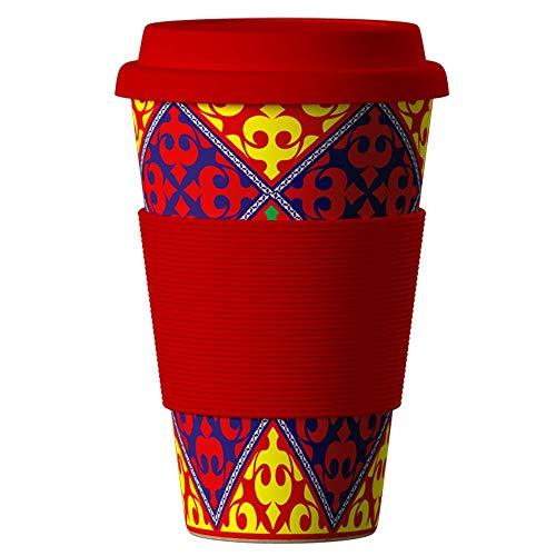 Bambus Becher wiederverwendbare Kaffeetasse mit dichtem Deckel, Trinkloch und Silikonhülle - Bamboo Eco ECoffee Cup - lebensmittelecht und spülmaschinenfest 400 ml Orient