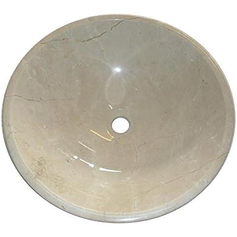 Pietra Marfil Crema-Ciotola rotonda, per lavandino da bagno, 350 mm, diametro (B0070)