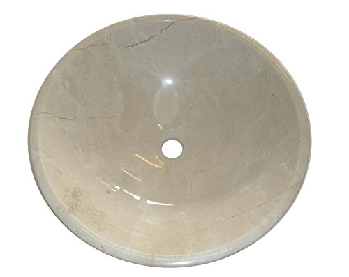 Crema Marfil Pierre Bol rond de salle de bain lavabo 300 mm Diamètre (b0071)