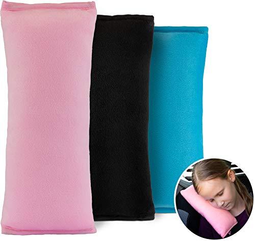 LIONSTRONG Gurtpolster für Kinder, Schlafkissen für das Auto, 100% Schadstofffrei (Schwarz)