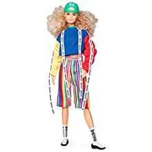 Barbie GHT92 BMR1959 Fashion Doll with Curly Blonde Hair, in Colour Block Sweatshirt with Logo Tape, Fully Poseable with Accessories and Doll