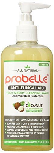 Probelle Jabón antifúngico de cártamo y aceite de coco puro con protección antimicrobiana. Ayuda a las áreas de la piel afectadas. 9.5 oz/280 ml