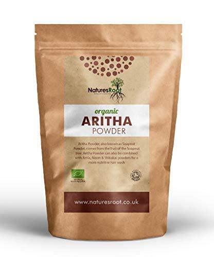 natures root organic aritha polvere - 100% naturale certificata soapnut powder - shampoo e balsamo per capelli orgnaic hair - erba ayurveda polvere per capelli