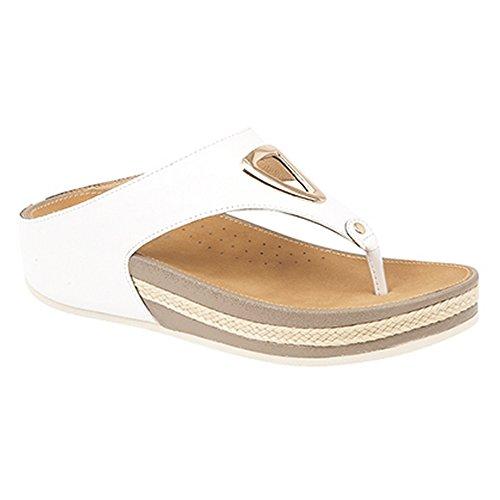Boulevard Damen Gold Trim Sandale mit Zehenposten Weiß