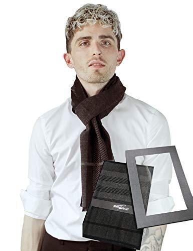 SEW ELEGANT - Bufanda para hombre, diseño de lunares y rayas Negro negro, gris Talla única