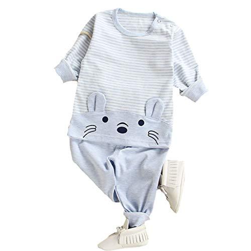 2PC Kleinkind Kinder Bekleidungsset Baby Tier Cartoon Pyjamas Tops Hosen Kleidung Set Jungen Mädchen Süß Drucken T-Shirt Bequeme Baumwolle Hose Freizeitkleidung Set für 1-5 Jahre (Weiches Und Bequemes Kürbis Kleinkind Kostüm)