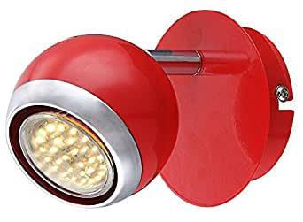 Applique luminaire mural LED 3W mur lampe spot rétro boule mobile chrome rouge Globo 57885-1 OMAN
