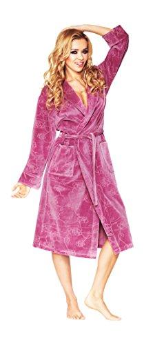 Luxus Frauen Kurz Baumwolle morgenmantel, Blumenmuster Bademantel, Altrosa, Gr. 42/XL