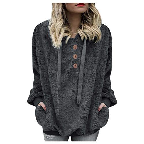 Hoodies FüR Frauen -Damen Oversize Winter Warm Pullover Langarm Oberbekleidung Fuzzy Casual Lose Kapuzen Sweatshirts FüR Frauen(Grau,2XL)