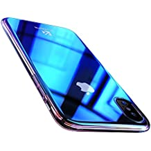 FLOVEME iPhone X Case, Luxury Slim Fit Gradual Colorful Gradient Change Color Ultra Thin Lightweight Electroplating Bumper Anti-Drop Clear Hard Back Cover Holder, Transparent Blue