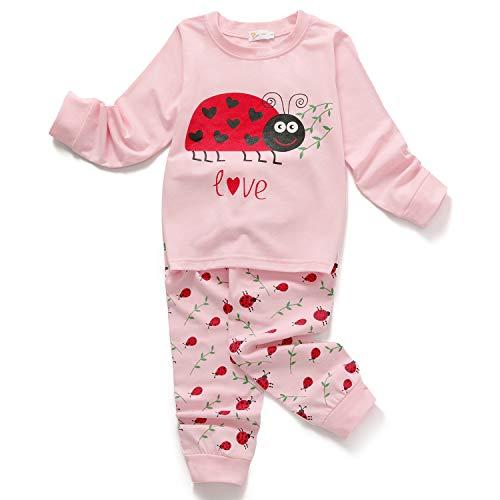 6097677dab Little Hand Mädchen Zweiteiliger Schlafanzug Baumwolle Lange Nachtwäsche  Tier Giraffe Kinder Pyjama, Rosa-4