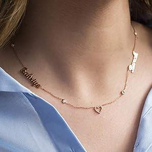 Zwei Namen mit Herz Halskette - Namenskette