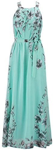 Mochoose Women's Maxi Bohemian Sleeveless Plus Size Summer Printed Chiffon Beach Long Dress(Green,28)