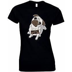 Camiseta de mujer Give A Pug A Hug en negro talla XL con lindo cachorro de perro