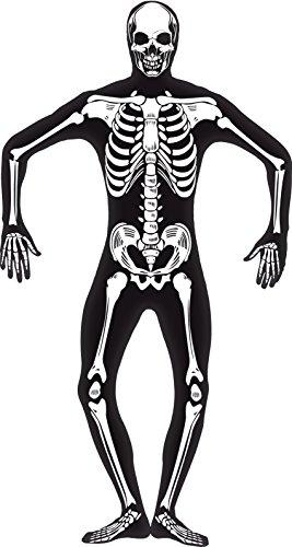 Smiffy's 24618XL - Kostüm Zweite Haut Skelett mit unsichtbarem Reißverschluss und Öffnung unter de, (Halloween Glow Kostüme The Dark Skelett In)