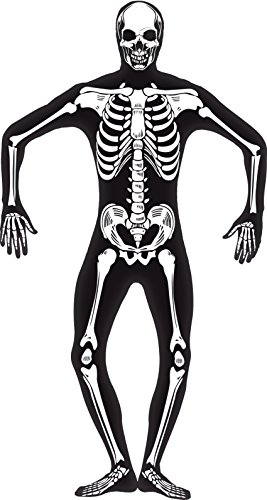 Costume Carnevale Halloween Adulto Seconda Pelle Scheletro Fluo smiffys *18577-L