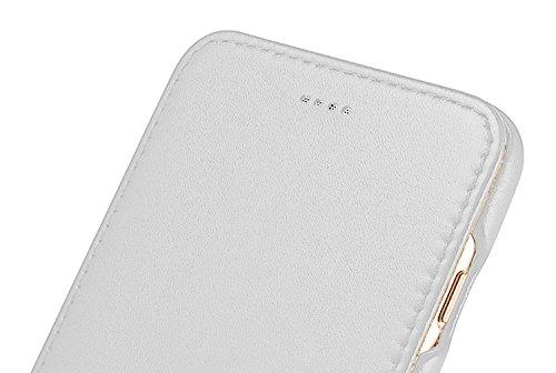 Luxus Tasche für Apple iPhone 8 Plus und iPhone 7 Plus (5.5 Zoll) / Case mit Echt-Leder Außenseite / Schutz-Hülle seitlich aufklappbar / ultra-slim Cover / Etui mit Textil-Innenseite / Farbe: Weiß - Bild 5