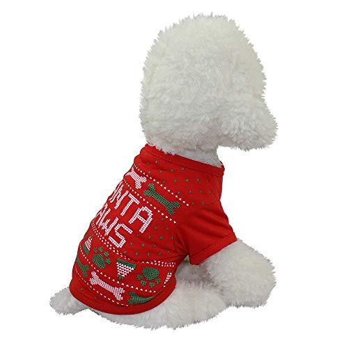 Amphia Haustier Kostüm - Haustier Hund Weihnachten Top,Weihnachten Hundebekleidung Polyester T Shirt Puppy Kostüm(Rot,XL)