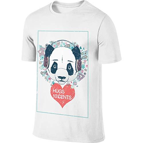 Mode Panda Liebhaber Valentinstag Umarmungen 10 Cents Herren Kurzarm T-Shirt Urlaub Mittelstücke T-Shirt Sympathie Arrangements Herren Tops Weiß 6XL