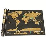 Shuzhen,Affiche de Carte du Monde à gratter pour Les Voyageurs(Color:Noir)