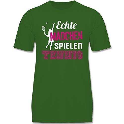 Sport Kind - Echte Mädchen Spielen Tennis - 134-146 (9-11 Jahre) - Grün - F140K - Jungen T-Shirt