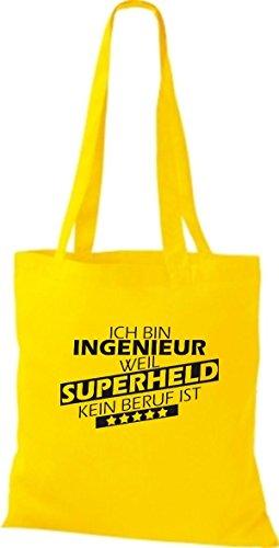 Shirtstown Stoffbeutel Ich bin Ingenieur, weil Superheld kein Beruf ist goldgelb