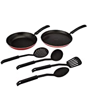 Amazon Brand - Solimo Non-Stick Cookware Set (2 pieces with 4 Nylon Kitchen Tools, Gas Stove compatible)