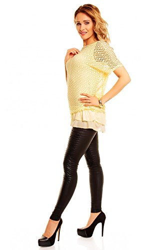 2 Teiliges Damen Netztunika in Häkel-Look mit Volant Untertop One Size Gelb