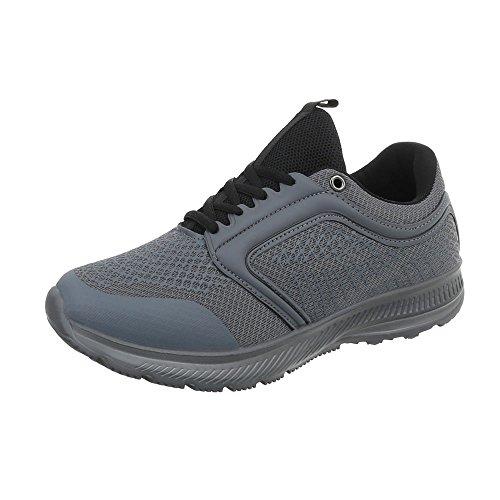 Ital-Design Turnschuhe Herren-Schuhe Low-Top Schnürer Schnürsenkel Sneaker Grau, Gr 41, El21569Dj- (Sneaker Design)