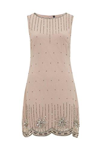 Femmes Années 1920 Style Vintage Costume Charleston Gatsby Abbaye Frange En Perles Et Sequin Robe Droite Couleur Chair