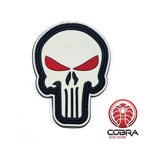 Cobra Tactical Solutions 3D PVC Rubber Morale Punisher Patch Parche Blanco con Ojos Rojos Hook&Loop Airsoft