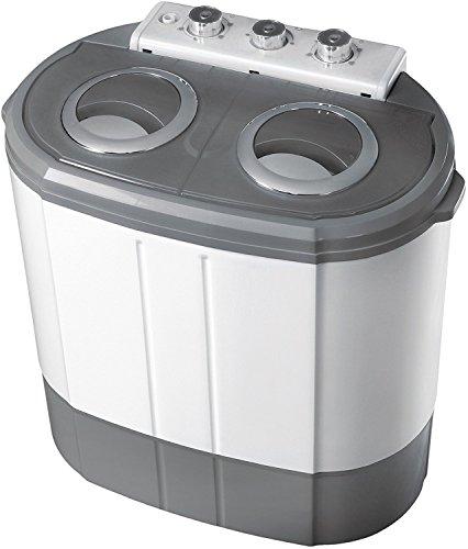 2in1 Mini Waschmaschine | Waschautomat | Camping | Toploader mit Schleuder | bis 3KG (Grau)