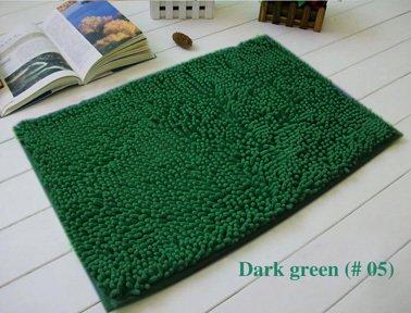 Lnxd Home Decoration Badematten Chenille Teppich Matten Fußmatte Küche Badezimmer saugfähigen Rutschfeste Matte Tapete können angepasst werden, Dunkelgrün 05,500 Mmx 800mm