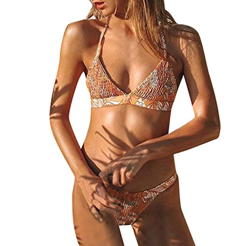 Yvelands Damen bademode Badeanzüge Bademode Beachwear Push up 2 Stück Bikini Badeanzug(CN-S,Orange)