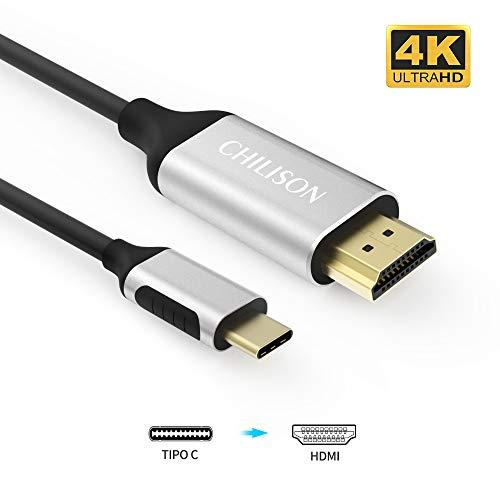USB C auf HDMI Kabel (1.8M 4K@60Hz), CHILISON USB 3.1 Typ C auf HDMI Kabel Adapter [Thunderbolt 3 kompatibel] mit MacBook Pro 2018, Huawei P20 pro, Huawei Mate 20, Samsung S10, S9, S8 usw - Schwarz