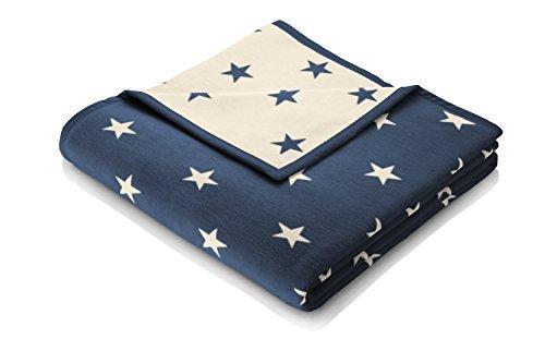 Biederlack Wohn- und Kuscheldecke, 60 % Baumwolle, Veloursband-Einfassung, 150 x 200 cm, Blau/Natur, Orion Cotton Texas Stars, 646293