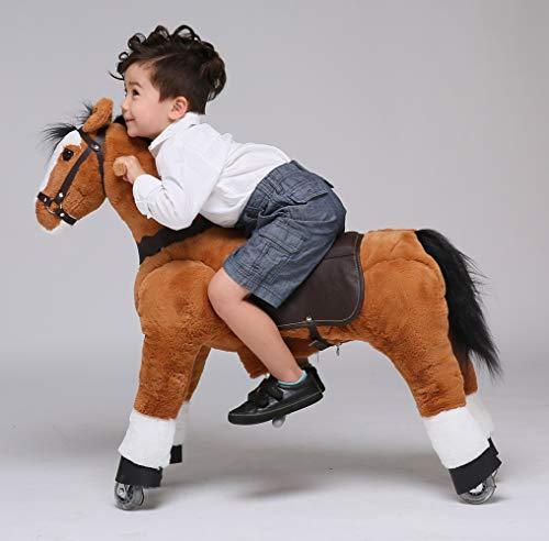 UFREE Horse Action Pony, Ritt auf Spielzeug, mechanisch bewegendes Pferd, Kinderwagen für Kinder von 4 bis 9 Jahren, mittelgroß, Höhe 93 cm (brauner Körper, Schwarze Mähne & Schwanz)