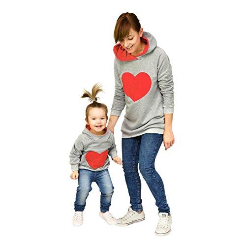 TUDUZ Familien Mutter und Tochter Kapuzenpullover, Damen Kinder Herz-Förmiger Hoodie Sweatshirt Tops Pullover (Rot, Mutter-L) - Herzförmiger Kurzarm-pullover
