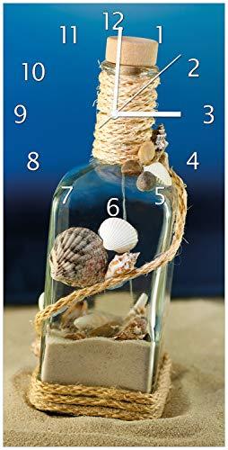 Wallario Design Wanduhr Flaschenpost vom Meer aus Acrylglas, Größe 30 x 60 cm, weiße Zeiger (Schiffe, Uhren)
